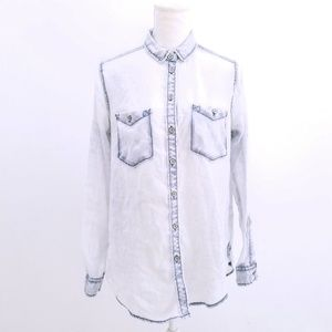 BDG Urban Outfitters Blue Sheer Long Sleeve Shirt
